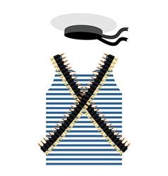 Striped vest shirt-clothing sailor man Tape with vector image