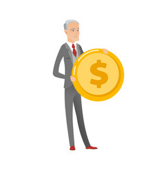 Successful caucasian businessman with dollar coin vector