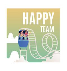 Successful teambuilding roller coaster vector