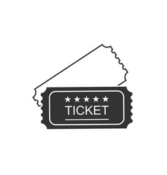 ticket icon in vintage style on blank background vector image