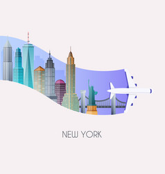 travel to new york traveling on airplane planning vector image