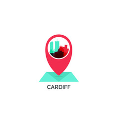 Uk cardiff map pin logo llustration vector