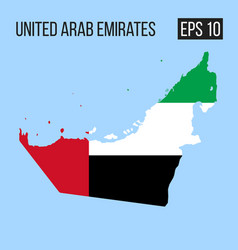 United arab emirates map border with flag eps10 vector