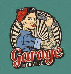 vintage garage service emblem vector image