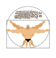 Vitruvian strong man bodybuilder of Leonardo da Vi vector