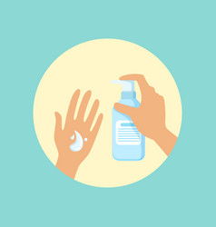 Washing hands with liquid soap round vector