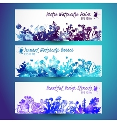 Watercolor winter leaves - template christmas vector image