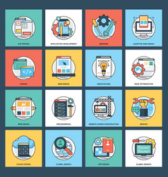 web services flat icons vector image