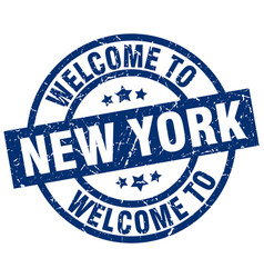 Welcome to new york blue stamp vector