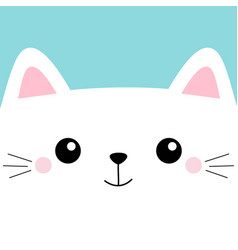 White cat head face square icon with eyes cute vector