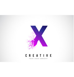 x purple letter logo design with liquid effect vector image