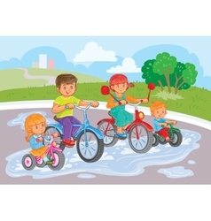 Young children ride bicycles in park vector