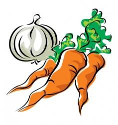 carrots and garlic vector image vector image
