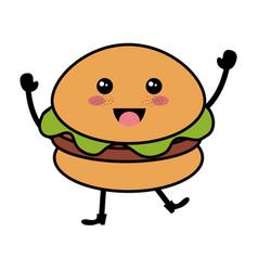 delicious hamburger fast food kawaii character vector image