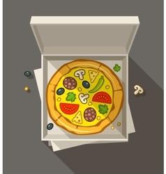 Pizza in open box vector image vector image