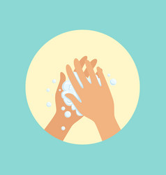 Washing hands with soap palm to palm round vector