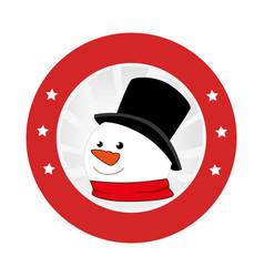 circular emblem with snowman face vector image