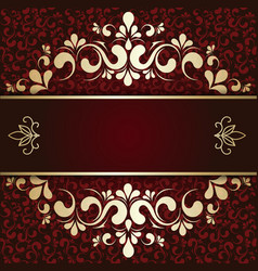 gold ornament on a burgundy background card vector image vector image