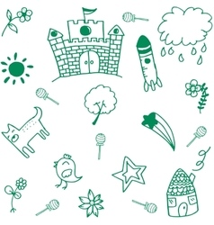 Green palace doodle vector image