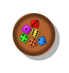 Playing dices in a cup vector