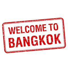 welcome to Bangkok red grunge square stamp vector image vector image