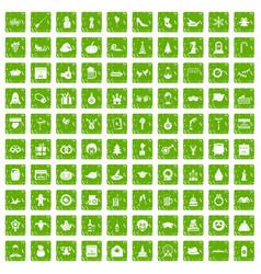 100 holidays icons set grunge green vector image