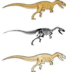 Allosaurus and Skeleton vector image