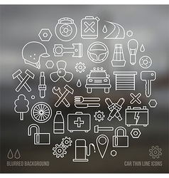 Auto service icons set and blurred background vector