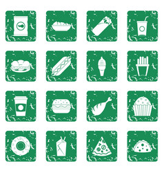 Fast food icons set grunge vector