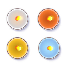 Realistic round candles in a metal case isolated vector