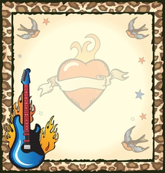 rock star tattoo party vector image vector image