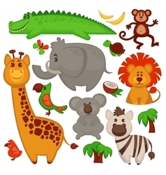 Set Of Different cute African Animals vector image
