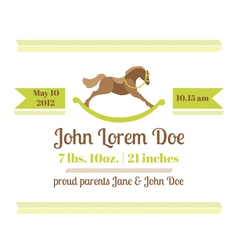 Baby Shower and Arrival Card - Horse Theme vector image vector image