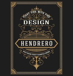 baroque frame and label design vector image
