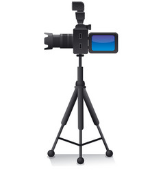 camera on tripod vector image