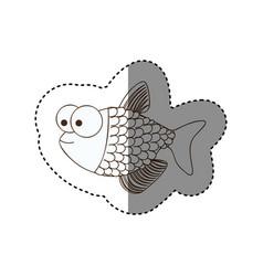 figure surprised fish scalescartoon icon vector image vector image