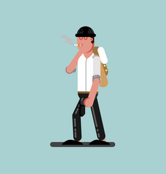 guy with cigarette and gun walking vector image vector image