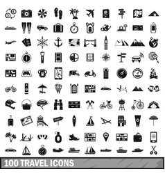 100 travel icons set in simple style vector