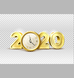 2020 new year holiday with realistic clock vector image