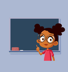 African female student standing in front vector
