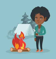 African woman roasting marshmallow over campfire vector