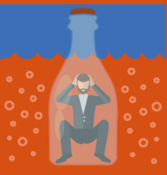 Alcoholic man trapped in a bottle alcoholism vector