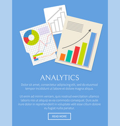 Analytics banner isolated on bright blue backdrop vector