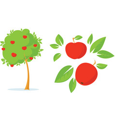 Apple tree - flat design with apple vector