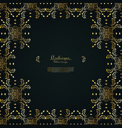 Arabesque orient element gold pattern background vector