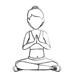 athlete woman doing yoga vector image