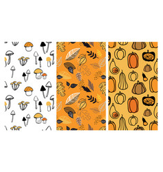 autumn pattern set perfect for wallpaper gift vector image