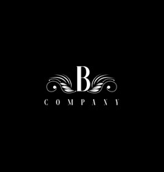 b letter floral elegant graceful ornament logo vector image