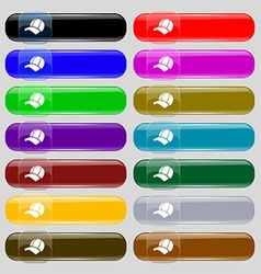 Ball cap icon sign Set from fourteen multi-colored vector