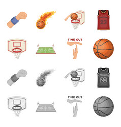 basketball and attributes cartoonmonochrome icons vector image